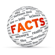 Facts icon: a sphere made up of words like: info, science, answers, reality etc. The word FACTS is displayed in bold orange capitals across the middle of the sphere.
